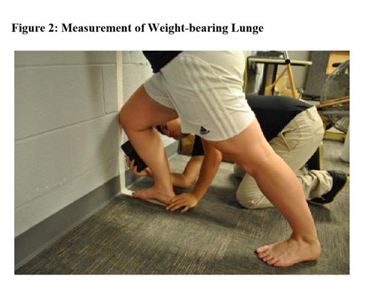 自体重でのランジ動作時の背屈可動域の測定