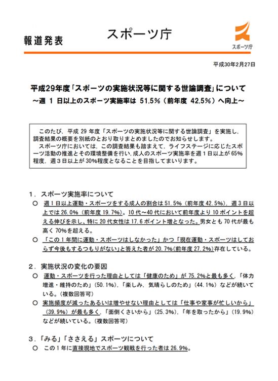 スポーツ庁・平成29年度「スポーツの実施状況等に関する世論調査」について