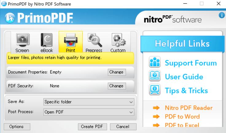 PrimoPDF保存画面